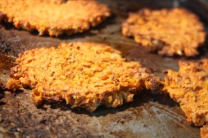 Sweet Potatoe Latkes fresh out of the oven!