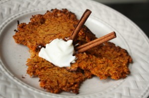 Sweet Potato Latkes with cinniman sticks and greek yogurt